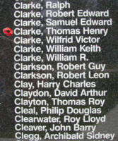Memorial– Flight Sergeant Thomas Harry Clarke is also commemorated on the Bomber Command Memorial Wall in Nanton, AB … photo courtesy of Marg Liessens