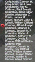 Memorial– Flying Officer Alfred Joseph Combaz is also commemorated on the Bomber Command Memorial Wall in Nanton, AB … photo courtesy of Marg Liessens