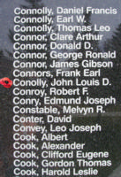 Memorial– Flight Sergeant John Louis de Vere Conolly is also commemorated on the Bomber Command Memorial Wall in Nanton, AB … photo courtesy of Marg Liessens