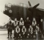 Lancaster Bomber Crew– Left to Right:  Back Row: Unknown, Lester Cockeran, Paddy O'Rouke, Unknown,          Gordon Keeble, Unknown  Front Row: Allister Scott, John L. Cooke, Joe Holloway, Keith Driver