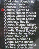 Memorial– Warrant Officer Class II Everett Malcolm Coulter is also commemorated on the Bomber Command Memorial Wall in Nanton, AB … photo courtesy of Marg Liessens