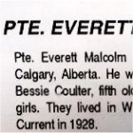 Obituary– This obituary of WO Coulter appeared in a special issue of The Manitoulin (Island) Expositor in 1994. It contains several inaccuracies, including the rank of WO Everett Coulter.