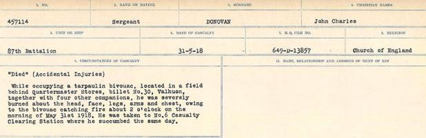 Circumstances of death registers– Source: Library and Archives Canada. CIRCUMSTANCES OF DEATH REGISTERS, FIRST WORLD WAR. Surnames: Don to Drzewiecki. Microform Sequence 29; Volume Number 31829_B016738. Reference RG150, 1992-93/314, 173. Page 199 of 1076.