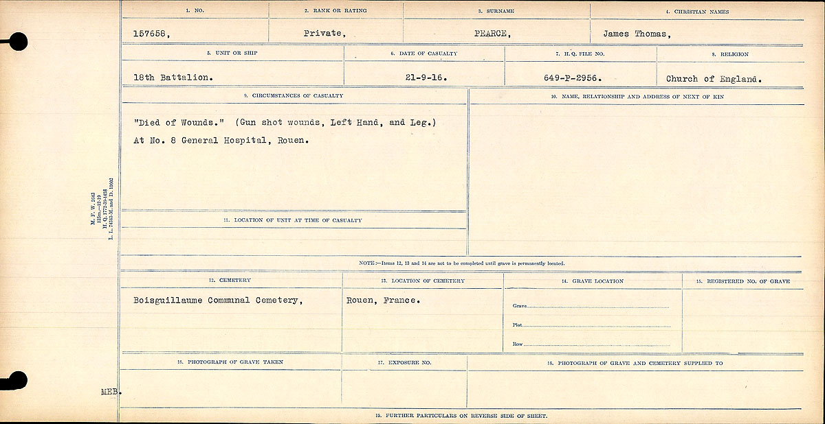 """Circumstances of Death Registers– """"Died of Wounds."""" (Gun shot wounds, Left Hand and Leg.) At No. 8 General Hospital, Rouen."""