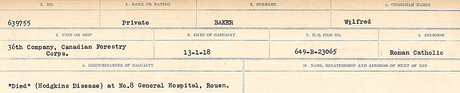 Circumstances of Death Registers– Source: Library and Archives Canada.  CIRCUMSANCES OF DEATH REGISTERS, FIRST WORLD WAR Surnames:  Babb to Barjarow. Microform Sequence 5; Volume Number 31829_B016715. Reference RG150, 1992-93/314, 149.  Page 549 of 1072.