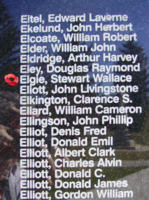 Memorial– Flying Officer Stewart Wallace Elgie is also commemorated on the Bomber Command Memorial Wall in Nanton, AB … photo courtesy of Marg Liessens