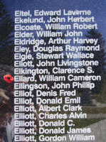 Memorial– Sergeant William Cameron Ellard is also commemorated on the Bomber Command Memorial Wall in Nanton, AB … photo courtesy of Marg Liessens