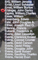 Memorial– Flying Officer John Dartry Erzinger is also commemorated on the Bomber Command Memorial Wall in Nanton, AB … photo courtesy of Marg Liessens