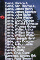 Memorial– Pilot Officer John Wesley Evans is also commemorated on the Bomber Command Memorial Wall in Nanton, AB … photo courtesy of Marg Liessens