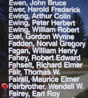 Memorial– Flight Sergeant Wendell Wilburn Fairbrother is also commemorated on the Bomber Command Memorial Wall in Nanton, AB … photo courtesy of Marg Liessens