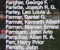 Memorial– Flying Officer John Arlo Farnham is also commemorated on the Bomber Command Memorial Wall in Nanton, AB … photo courtesy of Marg Liessens