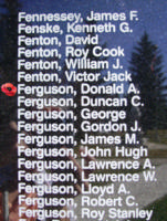 Memorial– Flight Sergeant Donald Alexander Ferguson is also commemorated on the Bomber Command Memorial Wall in Nanton, AB … photo courtesy of Marg Liessens