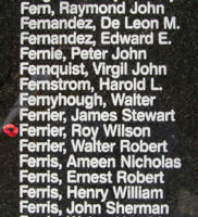 Memorial– Warrant Officer Class II Roy Wilson Ferrier is also commemorated on the Bomber Command Memorial Wall in Nanton, AB … photo courtesy of Marg Liessens