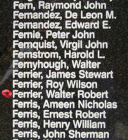 Memorial– Pilot Officer Walter Robert Ferrier is also commemorated on the Bomber Command Memorial Wall in Nanton, AB … photo courtesy of Marg Liessens