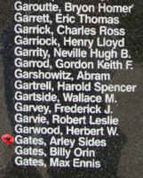 Memorial– Flying Officer Arley Sides Gates is also commemorated on the Bomber Command Memorial Wall in Nanton, AB … photo courtesy of Marg Liessens