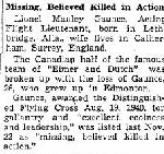 Newspaper Clipping– Source:  Globe and Mail, January 7, 1942