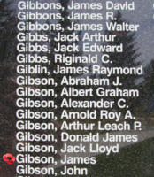 Memorial– Pilot Officer James Gibson is also commemorated on the Bomber Command Memorial Wall in Nanton, AB … photo courtesy of Marg Liessens