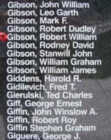 Memorial– Warrant Officer Class I Robert William Gibson is also commemorated on the Bomber Command Memorial Wall in Nanton, AB … photo courtesy of Marg Liessens