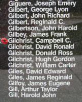 Memorial– Flight Sergeant Campbell Colin Gilchrist is also commemorated on the Bomber Command Memorial Wall in Nanton, AB … photo courtesy of Marg Liessens
