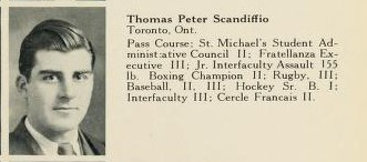 Biography– Picture of Thomas P. Scandiffio extracted from a composite class photograph of the graduating Class of 1941, Osgoode Hall Law School, Toronto.  T.P. Scandiffio had previously earned a Bachelor of Arts degree in Law from the University of Toronto; he then attended Osgoode Hall Law School, which at that time was directly operated by the Law Society of Upper Canada and provided a non-degree professional training program for prospective lawyers.  (Source of photo: Archives of the Law Society of Ontario.)