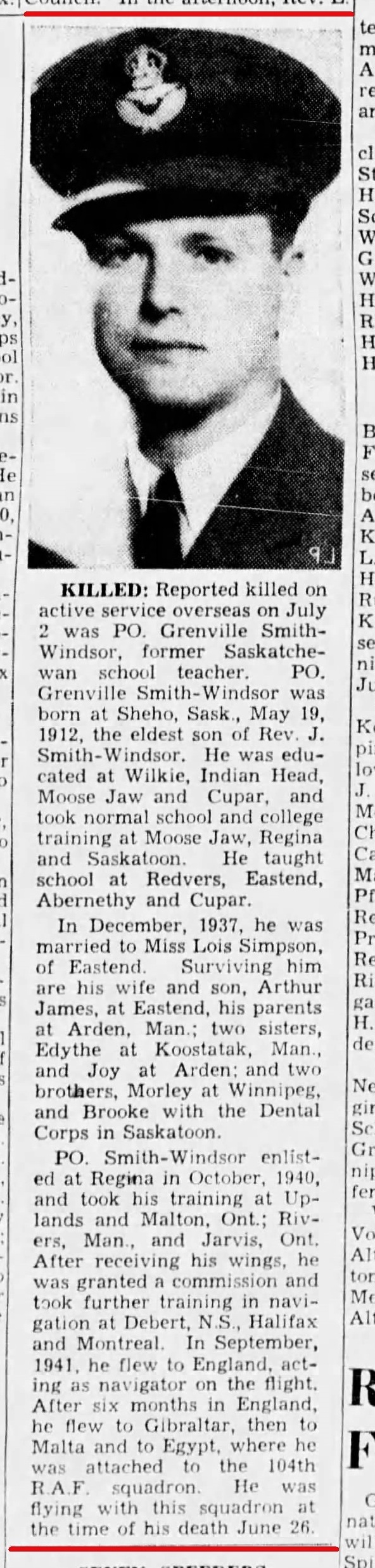 Newspaper clipping– Reported Killed on active service