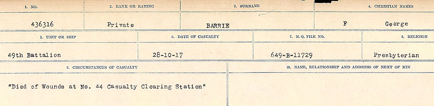 Circumstances of Death– Source: Library and Archives Canada.  CIRCUMSTANCES OF DEATH REGISTERS, FIRST WORLD WAR Surnames:  Bark to Bazinet. Mircoform Sequence 6; Volume Number 31829_B016716. Reference RG150, 1992-93/314, 150.  Page 469 of 1058.