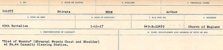 Circumstances of Death Registers– Source: Library and Archives Canada.  CIRCUMSTANCES OF DEATH REGISTERS FIRST WORLD WAR Surnames: Brubacher to Bunyan. Mircoform Sequence 15; Volume Number 31829_B016724; Reference RG150, 1992-93/314, 159 Page 325 of 668