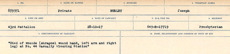 Circumstances of Death Registers– Source: Library and Archives Canada.  CIRCUMSTANCES OF DEATH REGISTERS, FIRST WORLD WAR Surnames:  Burbank to Bytheway. Microform Sequence 16; Volume Number 31829_B016725. Reference RG150, 1992-93/314, 160.  Page 239 of 926.