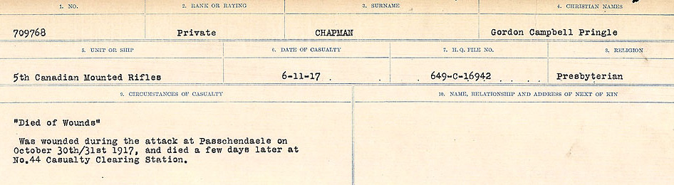 Circumstances of Death Registers– Source: Library and Archives Canada.  CIRCUMSTANCES OF DEATH REGISTERS, FIRST WORLD WAR Surnames:  CATCHPOLE TO CHIGNELL. Microform Sequence 19; Volume Number 31829_B016728. Reference RG150, 1992-93/314, 165. Page 551 of 958.