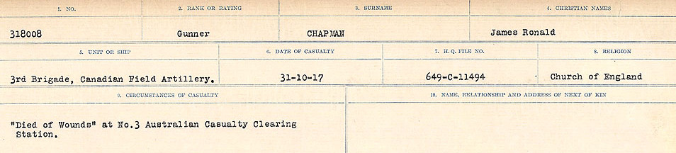 Circumstances of Death Registers– Source: Library and Archives Canada.  CIRCUMSTANCES OF DEATH REGISTERS, FIRST WORLD WAR Surnames:  CATCHPOLE TO CHIGNELL. Microform Sequence 19; Volume Number 31829_B016728. Reference RG150, 1992-93/314, 165. Page 575 of 958.