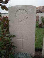 Grave Marker– Grave Marker in Nine Elms British Cemetery, Belgium Photo courtesy of J. Elliott/J. Rutledge, The Men of Huron WW1 Project