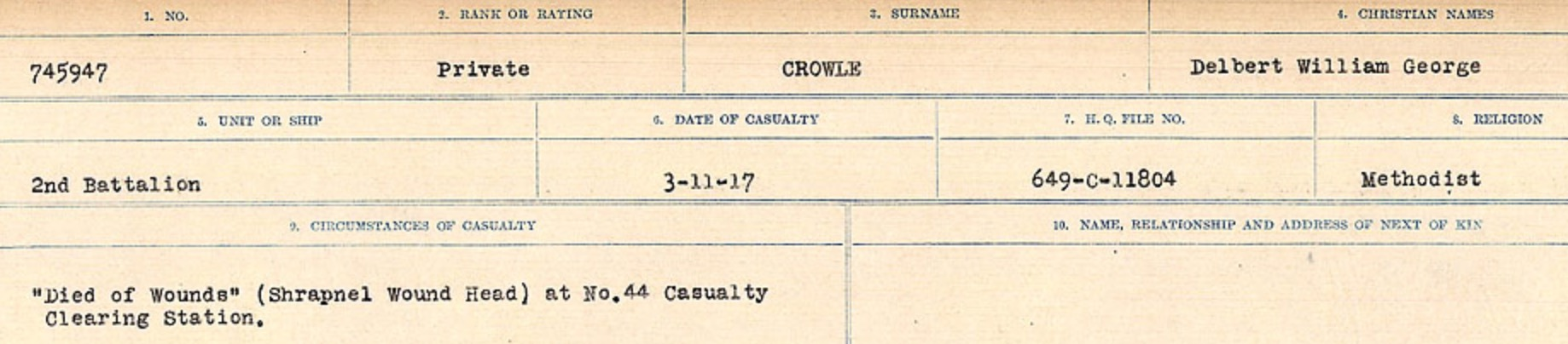Circumstances of death registers– Source: Library and Archives Canada. CIRCUMSTANCES OF DEATH REGISTERS, FIRST WORLD WAR Surnames: Crossley to Cyrs. Microform Sequence 25; Volume Number 31829_B016734. Reference RG150, 1992-93/314, 169. Page 151 of 890.