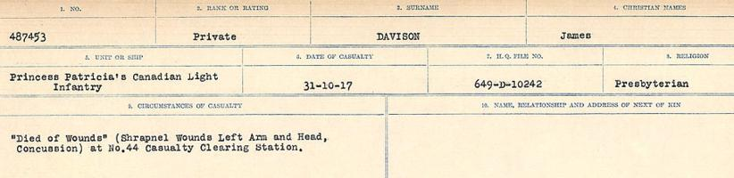 Circumstances of death registers– Source: Library and Archives Canada. CIRCUMSTANCES OF DEATH REGISTERS, FIRST WORLD WAR. Surnames: Dack to Dabate. Microform Sequence 26; Volume Number 31829_B016735. Reference RG150, 1992-93/314, 170. Page 1121 of 1140.
