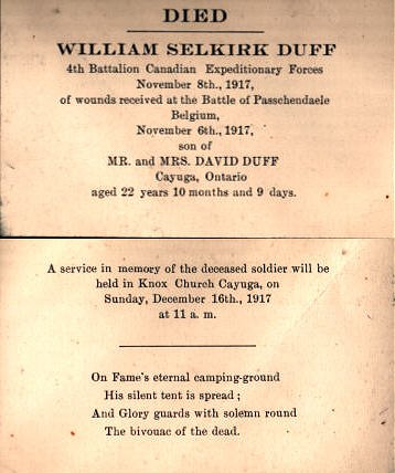 Funeral Announcement for William Selkirk Duff