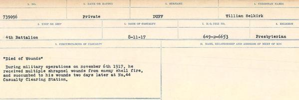Circumstances of death registers– Source: Library and Archives Canada. CIRCUMSTANCES OF DEATH REGISTERS, FIRST WORLD WAR. Surnames: Duane to Dzhobiewski. Microform Sequence 30; Volume Number 31829_B016739. Reference RG150, 1992-93/314, 174. Page 159 of 1062.