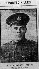 Photo of ROBERT THOMAS HARRIS– THE CALGARY DAILY HERALD NOVEMBER 22 1917