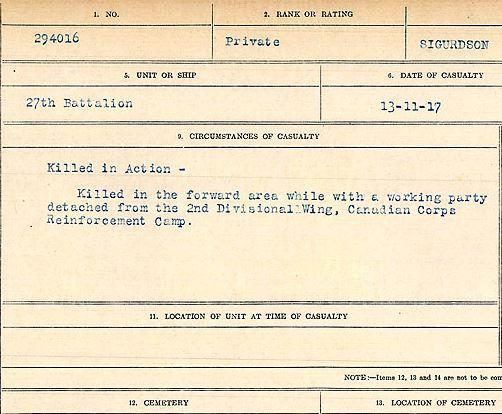 Circumstances of death registers– Private Magnus Sigurdson