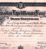Death Certificate– Death Certificate found attached to the back of an old picture in Port Hope, Ontario.