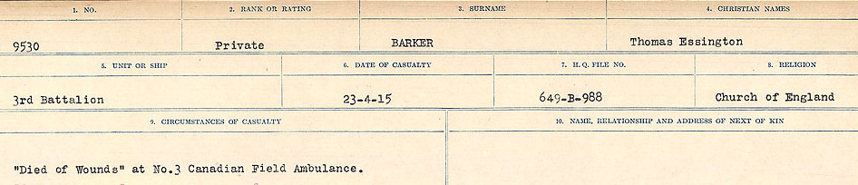Circumstances of Death Registers– Source: Library and Archives Canada.  CIRCUMSTANCES OF DEATH REGISTERS, FIRST WORLD WAR Surnames:  Bark to Bazinet. Mircoform Sequence 6; Volume Number 31829_B016716. Reference RG150, 1992-93/314, 150.  Page 49 of 1058.