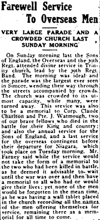 Newspaper clipping– Farewell Service