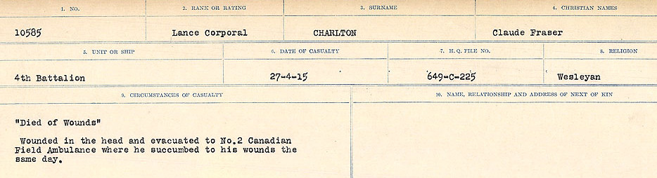 Circumstances of Death– Source: Library and Archives Canada.  CIRCUMSTANCES OF DEATH REGISTERS, FIRST WORLD WAR Surnames:  CATCHPOLE TO CHIGNELL. Microform Sequence 19; Volume Number 31829_B016728. Reference RG150, 1992-93/314, 165. Page 723 of 958.