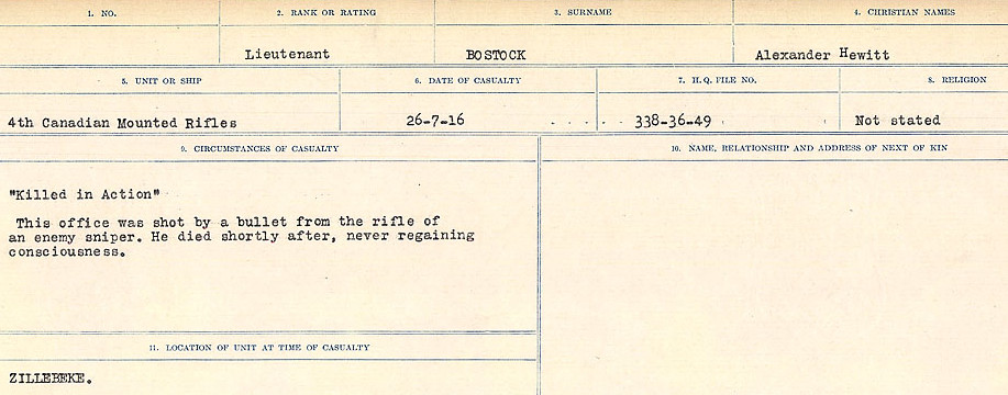 Record of Service– Source: Library and Archives Canada.  CIRCUMSTANCES OF DEATH REGISTERS FIRST WORLD WAR Surnames: Border to Boys. Mircoform Sequence 12; Volume Number 131829_B016721; Reference RG150, 1992-93/314, 156 Page 85 of 934