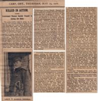 Newspaper clipping– Killed in action. Lieutenant Thomas Harold Fennell is among the slain. The Carp Review, 25 May 1916.