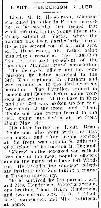 Newspaper clipping– source of image: The Essex Free Press. June 23, 1916 - pg. 2