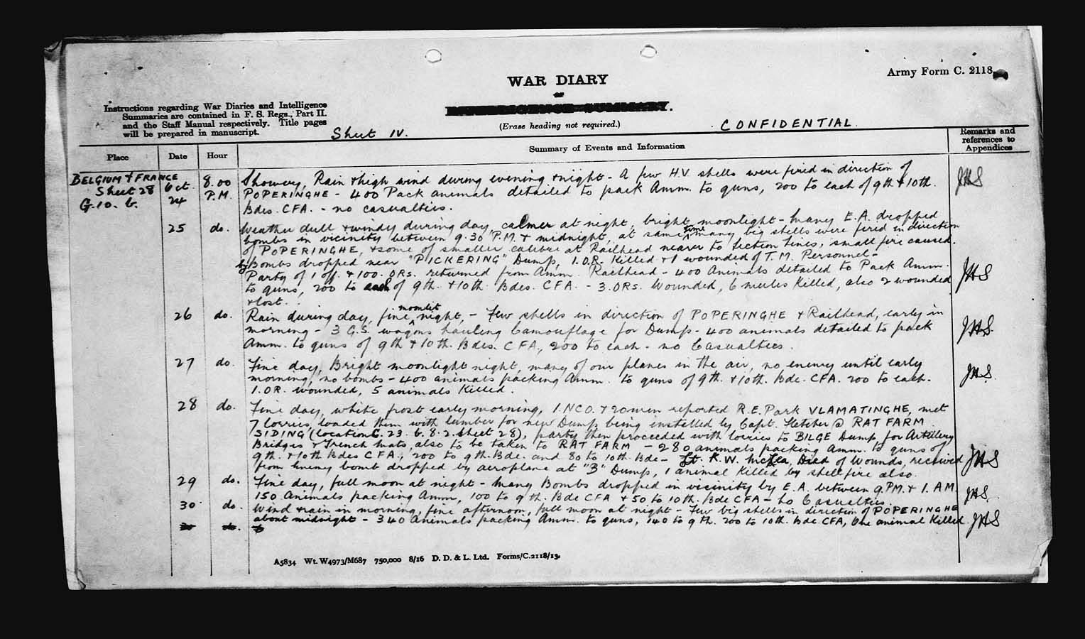 War Diary– War Diary of the 3rd Canadian Divisional Ammunition Column with entry pertaining to Lieutenant K.W. McLea.