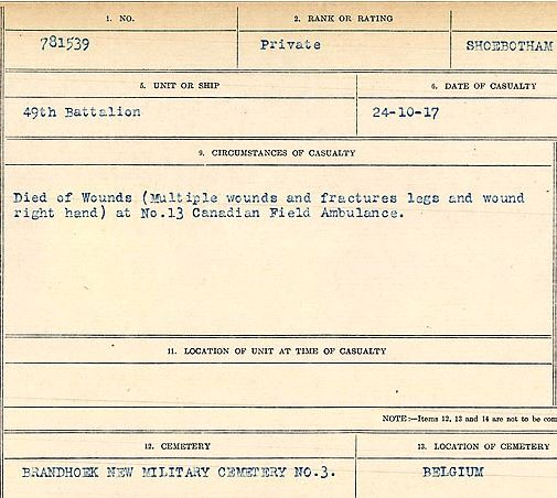 Circumstances of death registers– Private Lance Frederick Shoebotham