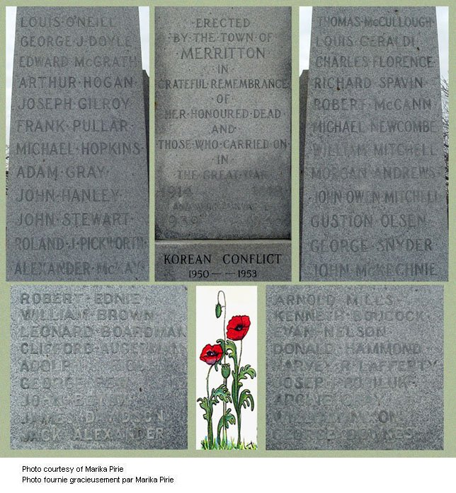 Names on the Merriton Ontario War Memorial
