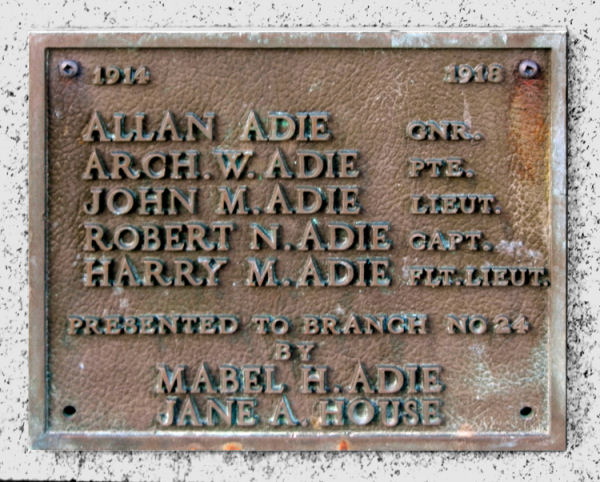 Inscription– Adie memorial, St Catharines