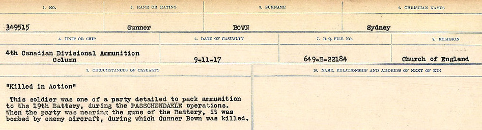 Circumstances of Death Registers– Source: Library and Archives Canada.  CIRCUMSTANCES OF DEATH REGISTERS FIRST WORLD WAR Surnames: Border to Boys. Mircoform Sequence 12; Volume Number 131829_B016721; Reference RG150, 1992-93/314, 156 Page 675 of 934