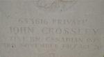 Pierre tombale – La tombe de John Crossley. Elles ont été prise à la demande de la parenté à Cornwall, en Ontario.